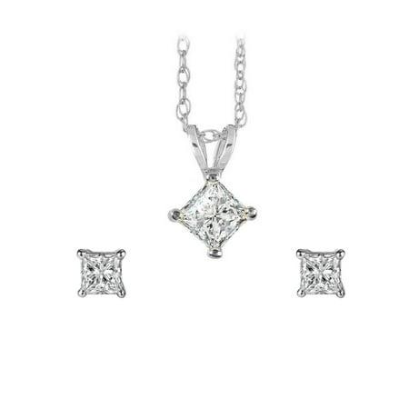 Sparkling Princess Cut Diamond Pendant Earrings in Gold - image 2 de 2