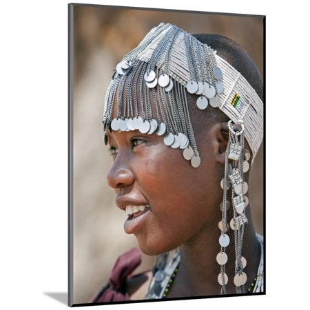 A Maasai Girl from the Kisongo Clan Wearing an Attractive Beaded Headband Wood Mounted Print Wall Art By Nigel - Attractive Wood