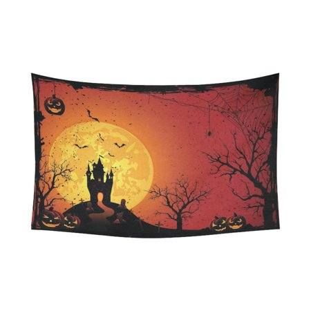 GCKG Night Tree Pumpkin Castle Full Moon Happy Halloween Tapestry Wall Hanging Yellow and Black Pattern Wall Decor Art for Living Room Bedroom Dorm Cotton Linen Decoration 90 x 60 Inches](100 Pics Halloween 90)