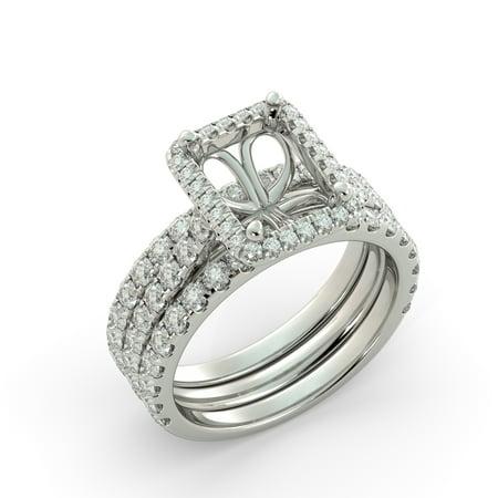Emerald Semi Mount Ring - Emerald Halo Semi Mount Wedding Set 2 Band Round Diamond Engagement Ring 18k WG