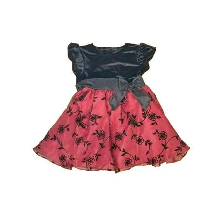 Infant Baby Girls Black Velvet Maroon Flowered Christmas Holiday Party Dress 24M