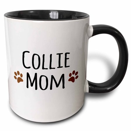 3dRose Collie Dog Mom - Doggie by breed - brown muddy paw prints love - doggy lover - proud mama pet owner - Two Tone Black Mug, 11-ounce
