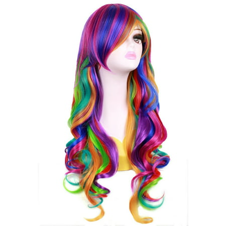 Fashionwu Long Big Wavy Rainbow Wigs Gothic Curly Women Spiral Colorful Hair for Halloween Custom Cosplay - Mens Long Hair Wig