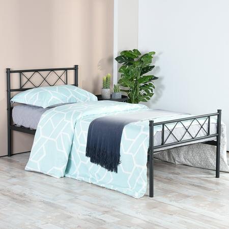 Easy Set-up Premium Metal Bed Frame Platform Box Spring with Headboard Footboard