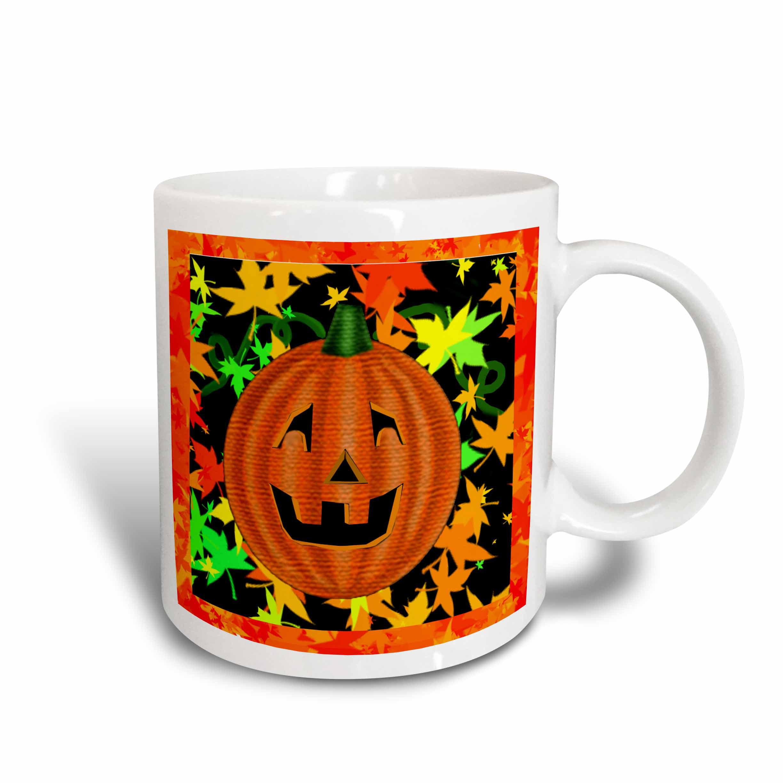 3dRose Halloween Jack O Lantern pumpkin with colorful autumn leaves, Ceramic Mug, 11-ounce