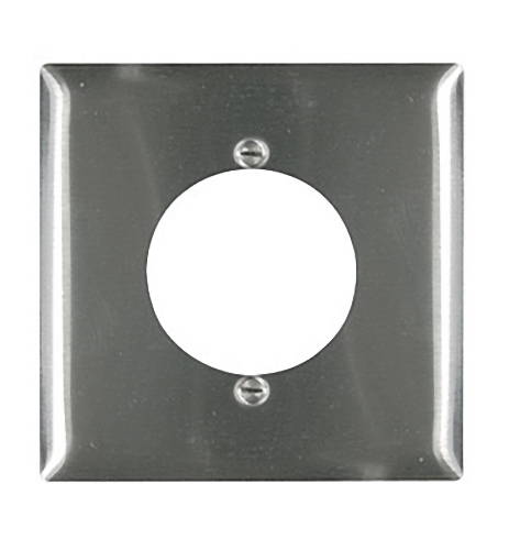 """Pass and Seymour SS702 Non-Magnetic Stainless Steel Two Gang Single 2.125"""" Power Receptacle Wall Plate"""