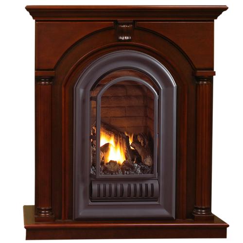 HearthSense Liquid Propane Vent Free Gas Fireplace- 20,000 BTU, Cherry Finish