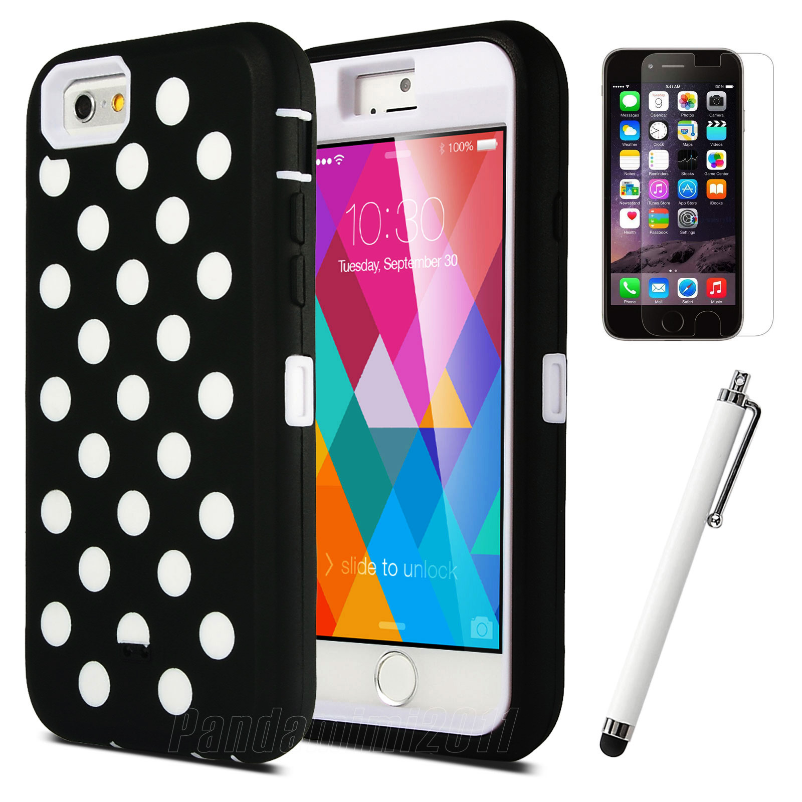 ULAK iPhone 6 6S Case, High Hybrid 3 Layer Polka Dot Print Protective Hard Case Cover for Apple iPhone 6 4.7/ Apple iPhone 6s 4.7 inch (Hard Plastic with Soft Silicone)