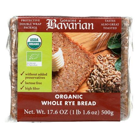 Genuine Bavarian Organic Bread - Whole Rye - Case Of 6 - 17.6