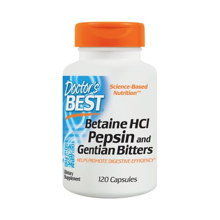 Doctor's Best Betaine HCI Pepsin and Gentian Bitters, Non-GMO, Gluten Free, Digestion Support, 120