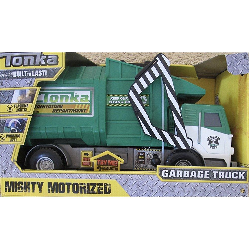 TONKA Mighty MOTORIZED GARBAGE TRUCK w Flashing LIGHTS, Realistic SOUNDS & Working LIFT (2016 Hasbro)