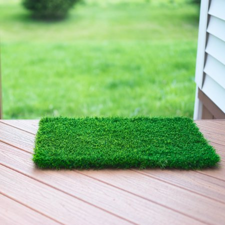 Artificial Grass Doormat With SmartDrain Technology - Welcome Door Mat For Entrance Way & Porch- Outdoors and Indoors (24X18 Inches)