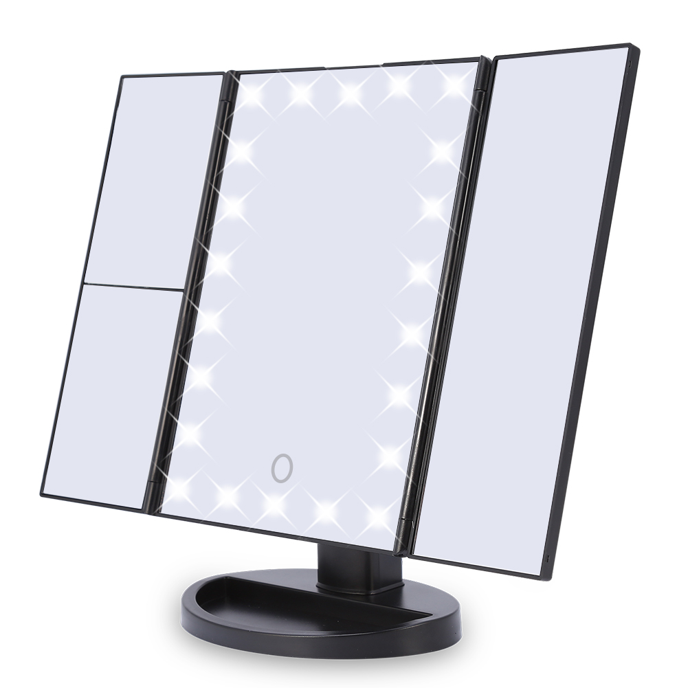 GLOGLOW Desktop Makeup Mirror,Tri-Fold 22 LED Lights 2X 3X Magnification Touch Screen Desktop Vanity Makeup Mirror , Cosmetic Mirror