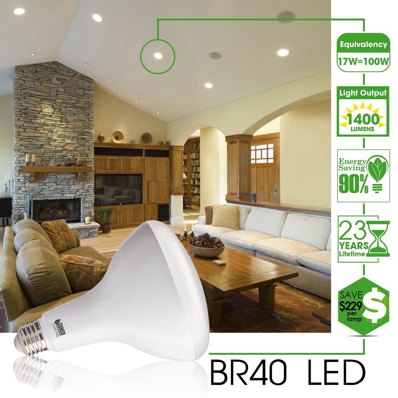 SUNCO 6 PACK   BR40 LED 17WATT (100W Equivalent), 3000K Warm White,  DIMMABLE, Indoor/Outdoor Lighting, 1400 Lumens, Flood Light Bulb  UL U0026amp;  ...