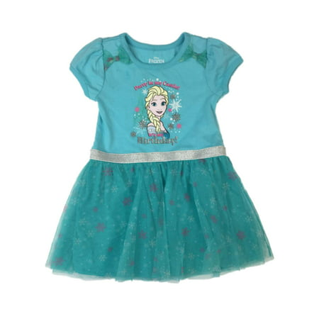 Disney Frozen Girls Blue Elsa Tutu Dress Party In My Castle It's My Birtday