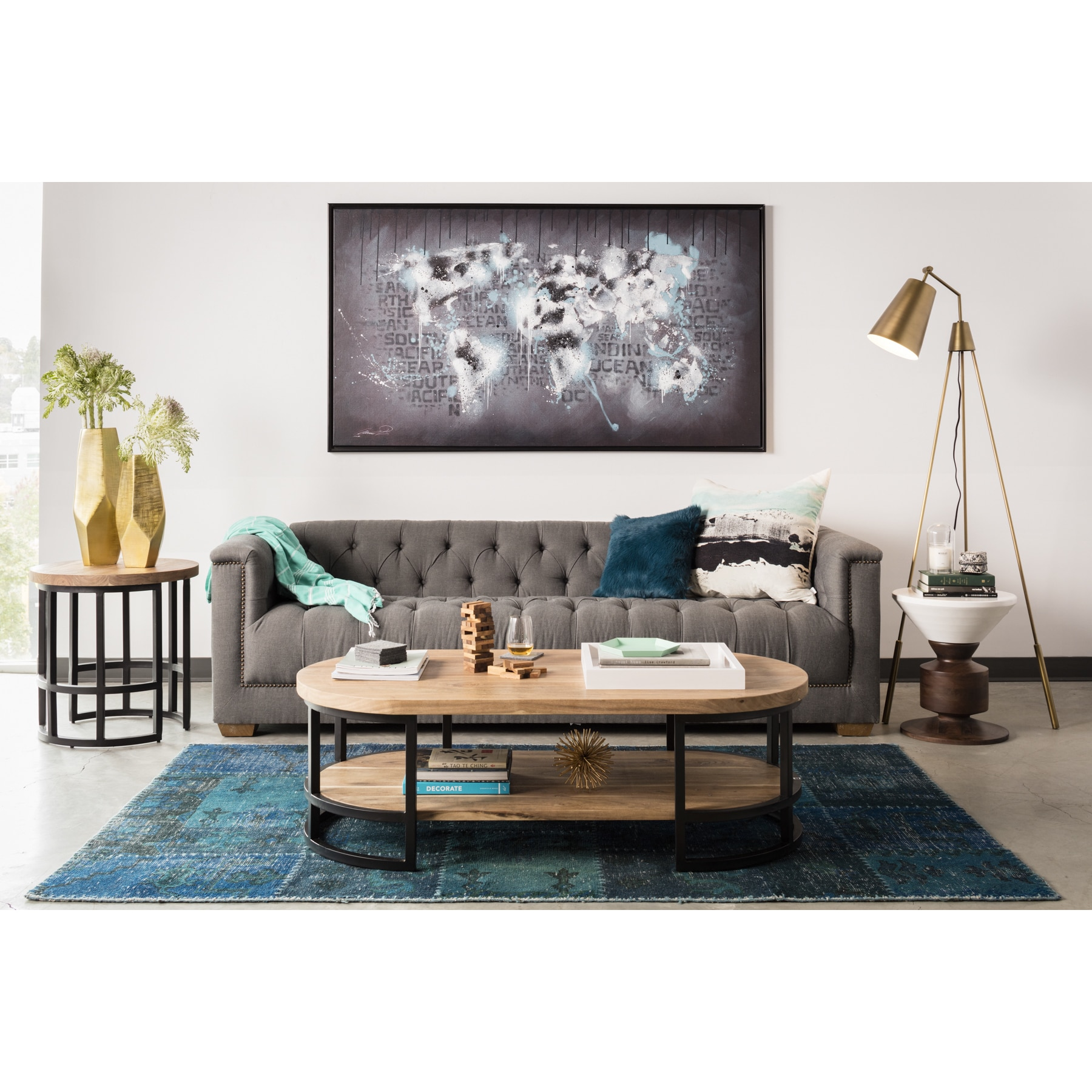 Aurelle Home Belvedere Grey Tufted Sofa by Overstock