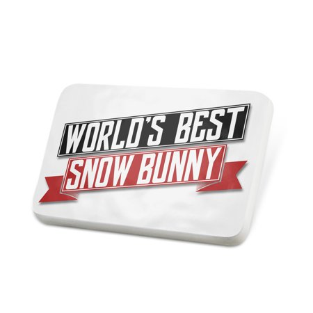 Porcelein Pin Worlds Best Snow Bunny Lapel Badge – (Best Snow Resorts In The World)