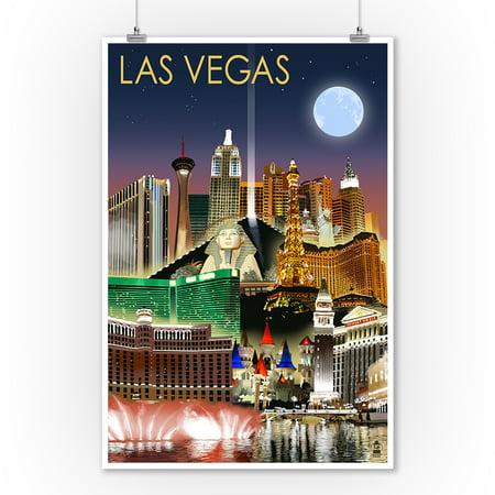 Las Vegas, Nevada - Las Vegas at Night - Lantern Press Artwork (9x12 Art Print, Wall Decor Travel Poster) - Las Vegas Decor