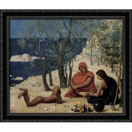 Greek Colony  Marseille 32X28 Large Black Ornate Wood Framed Canvas Art By Pierre Puvis De Chavannes