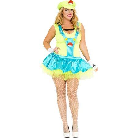 Music Legs 70453Q-3X-4XGREEN 4 Piece Plus Size Green Playful Plumber Costume, Green - 3X & 4X
