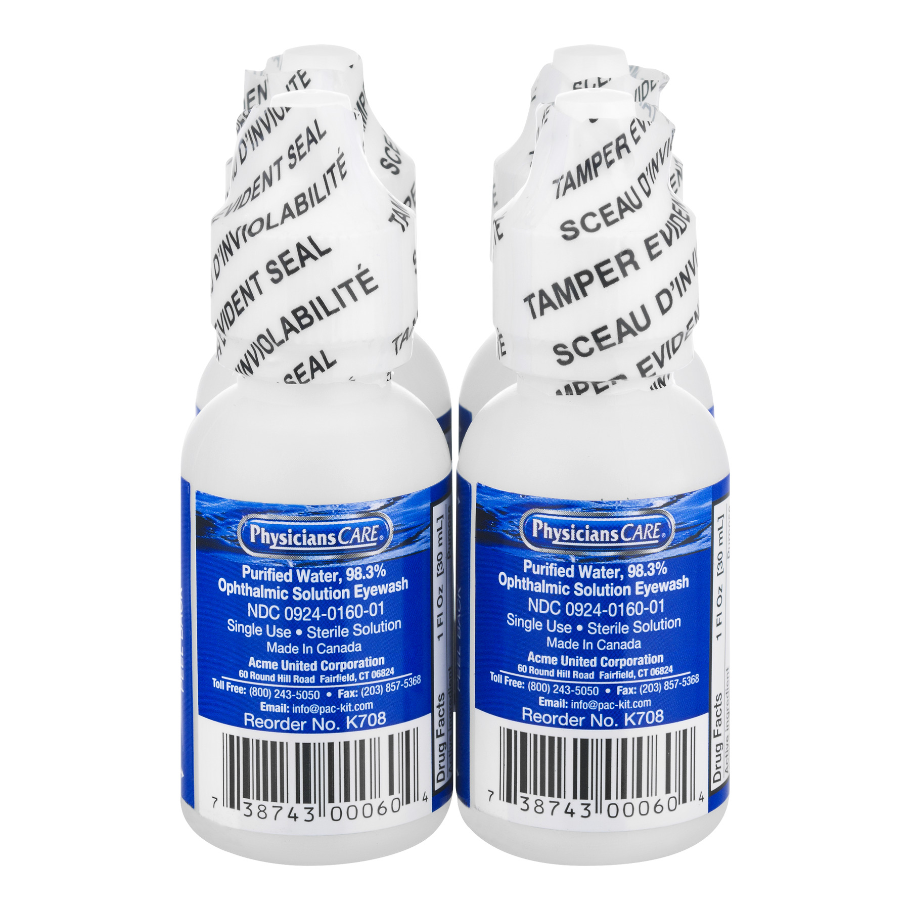 PhysiciansCare Eye Wash Bottle, 1 oz. Screw Cap (4 Count)