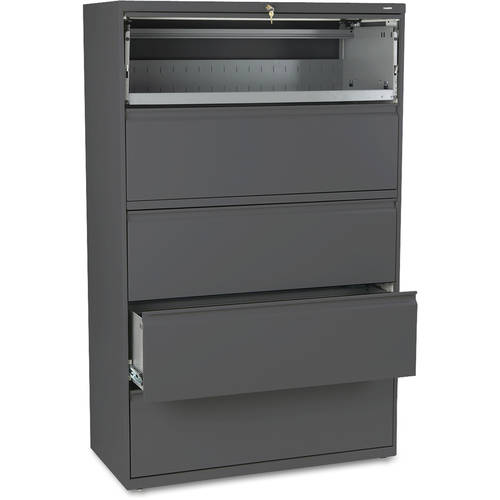 "HON 800 Series 5-Drawer Lateral File, Roll-Out/Posting Shelves, 42""W x 67""H"