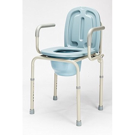 Zimtown Approved 450lbs Drop Arm Medical Beside Commode Chair, Homecare Toilet Bath Show Seat with Safety Steel Frame, Adjustable Height Support Tool-free