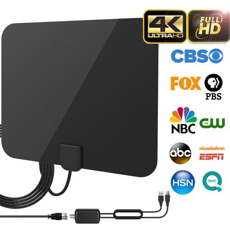 2019 Best 120 Miles Long Range TV Antenna Freeview Local Channels Indoor HDTV Digital Clear Television HDMI Antenna for 4K VHF UHF with Ampliflier Signal Booster Strongest Reception 13ft Coax