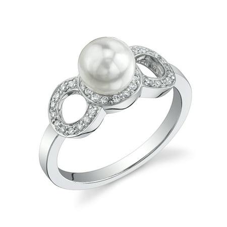 6.5-7.0mm Akoya Cultured Pearl & Diamond Melissa Ring in 14K Gold ()