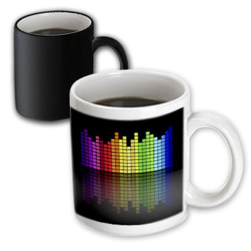 3dRose Pink Red Green Yellow Blue Music Equalizer On Black, Magic Transforming Mug, 11oz by 3dRose