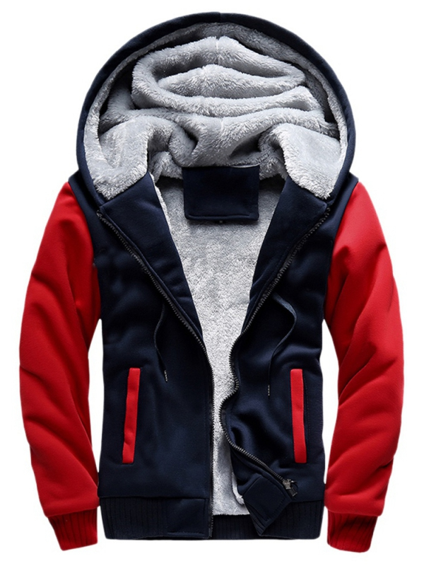 Sweetsmile Mens Winter Warm Hoddies Fleece Jacket Coat Fashion splicing Thicken Outwear Tops