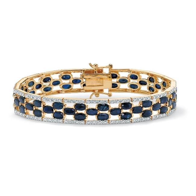 PalmBeach Jewelry 46474 20. 65 TCW Oval-Cut MI. D. night Blue Sapphire 18k Yellow Gold Over Sterling Silver Bracelet 7