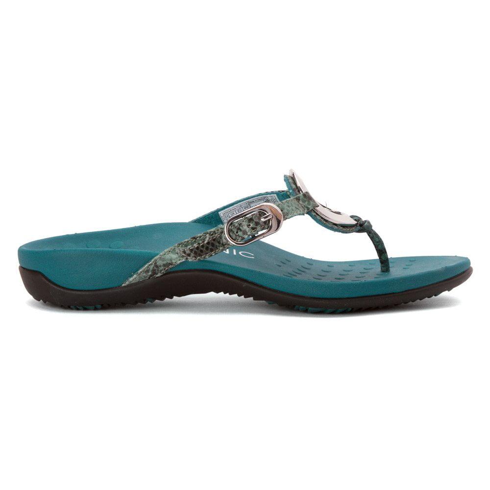 92d5bad59bcc Vionic Karina Womens Toe-post Supportive Sandal Teal Snake - 9 Medium