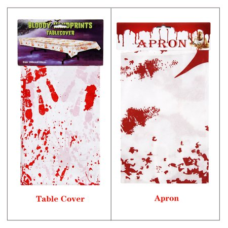 Horror Blood Table Cloth Bloody Handprint Printed Pattern