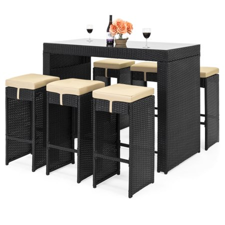 - Best Choice Products 7-Piece Outdoor Rattan Wicker Bar Dining Patio Furniture Set w/ Glass Table Top, 6 Stools - Black