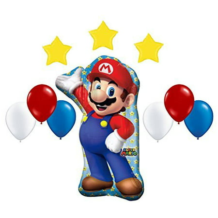 Super Mario Bros Mega Foil and Latex Balloons Decoration Kit (10 Pcs) for $<!---->