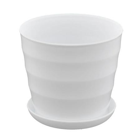 White Plastic Pot - Parterre Farm Home Plastic Round Design Flower Cactus Planter Pot Tray White