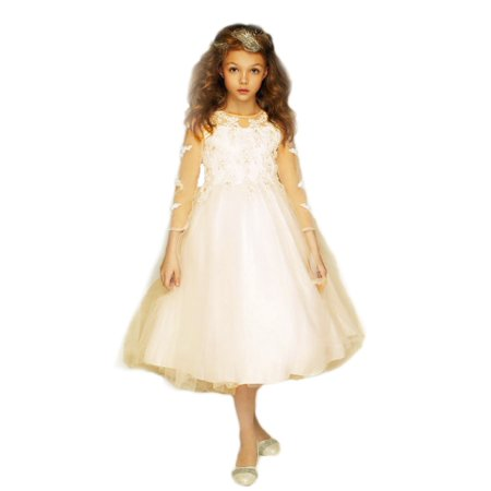 Petite Adele Girls Champagne Embroidered Hi-Low Junior Bridesmaid -