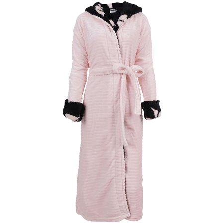 Hooded Robe Womens Winter Luxurious Soft Plush Fleece Kimono Bathrobe,Pink Hooded Kimono Robe