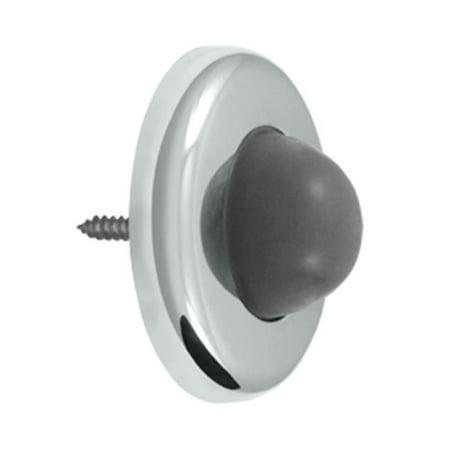 2.5 in. Diameter Wall Mount Convex Flush Bumper, Bright Chrome - Steel