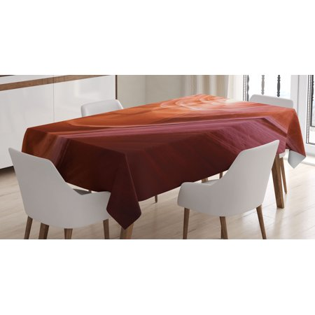 Usa Decor Tablecloth, Nature Theme Inside of the Antelope Canyon in Arizona Digital Image, Rectangular Table Cover for Dining Room Kitchen, 60 X 90 Inches, Orange Red and Yellow, by Ambesonne