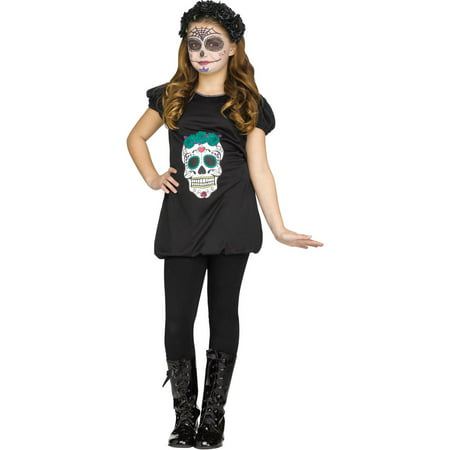 Day of the Dead Romper Girls Child Halloween (50's Day Costume)