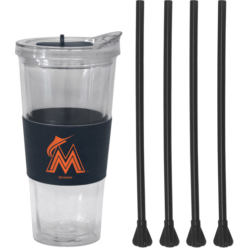 22oz MLB Miami Marlins Straw Tumbler with 4 Colored Replacement Propeller Straws
