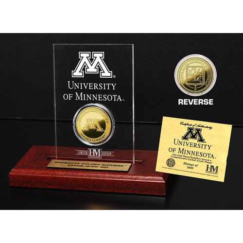 NCAA - Minnesota Golden Gophers 24KT Gold Coin in Etched Acrylic