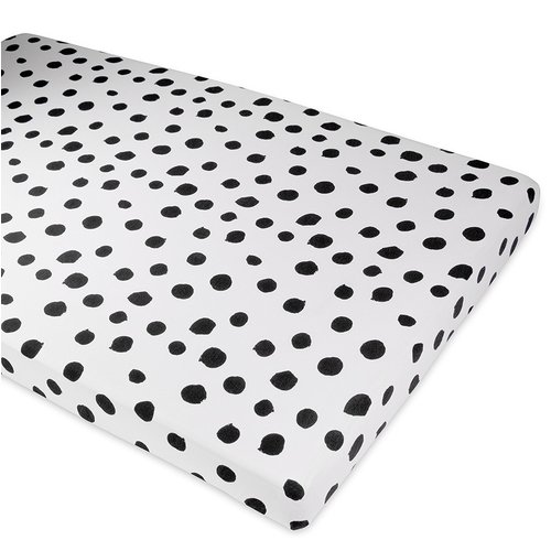 Crib Sheet Set 100% Jersey Cotton 2 Pack - Black Abstract Stripes and Dots