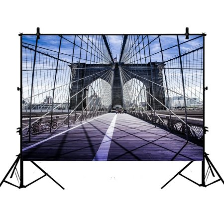 PHFZK 7x5ft Cityscape Backdrops, Brooklyn Bridge in New York City Photography Backdrops Polyester Photo Background Studio Props ()