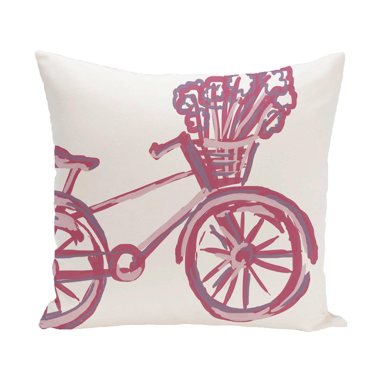 E by Design La Bicicleta Decorative Pillow