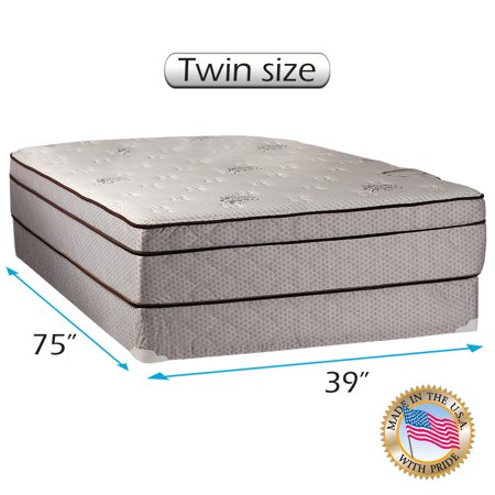 dreamy rest pillow top euro top twin size 39 x75 x10 mattress and box spring set fully. Black Bedroom Furniture Sets. Home Design Ideas