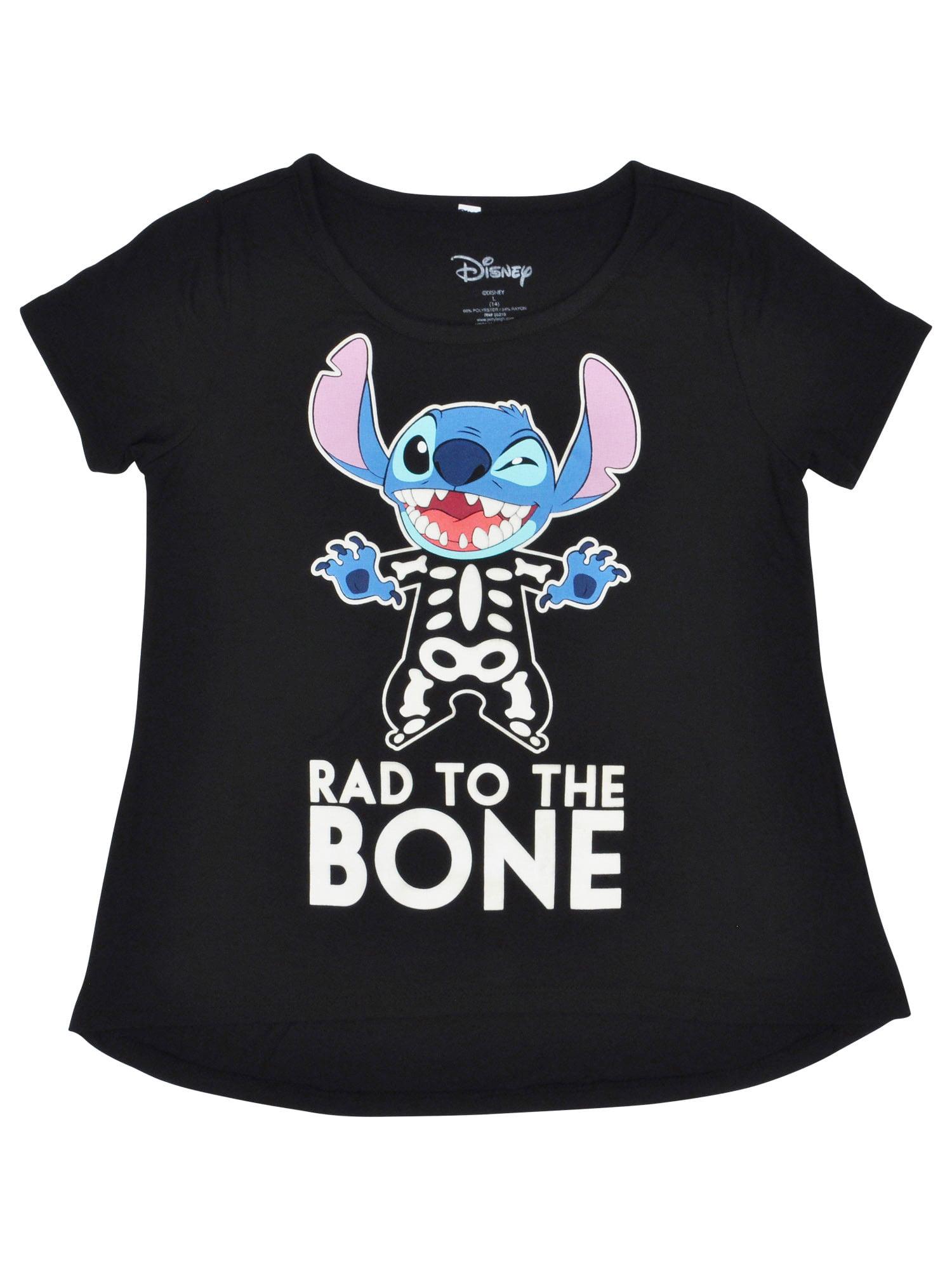 Youth Girls Stitch Skeleton T-Shirt Black Glow-in-the-Dark