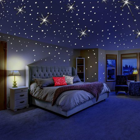 Tayyakoushi Glowing Wall Decals Room Decor Kit, Glow in The Dark Stars for Ceiling or Wall Stickers,Galaxy Glow Star Set and Solar System Decal for Kids Bedroom Decoration Home Decor - Solar System Decorations